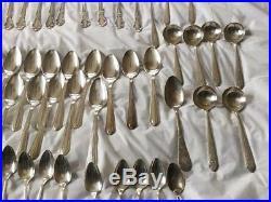 115 Vtg Silverplate Flatware Spoons Knives Forks Gorham Cathedral EPNS