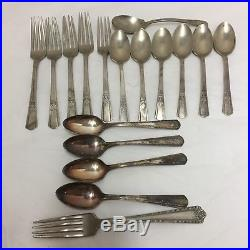 140 Pcs Silver Plate Flatware Spoon Forks Sets Knives Craft Resale Mixed Lot Vtg