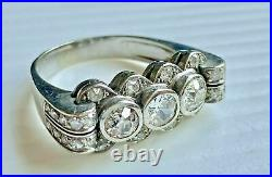14k White Gold Plated Perfect Vintage Art Deco Engagement Ring 3.25 Ct Diamond