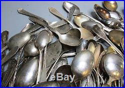 15lbs Lot of Vintage & Antique Silverplate Flatware Various Spoons Craft/Resale