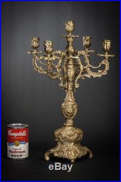 17 Large Antique Baroque Bronze Candelabra 5 Tier Vintage Candle Holder