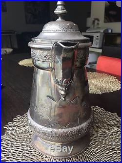 1878 Vintage Victorian Water Pitcher silver plated by WIlcox Silverplate