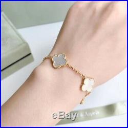 18kGold plate Silver VCA Flower Clover Vintage Alhambra bracelet Mother-of-pearl