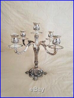 2 Vintage Large Baroque Silver Plated 5 Light Candelabra