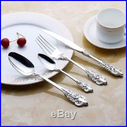 24-Piece High Quality Vintage Stainless Steel Flatware Cutlery Set Service For 6
