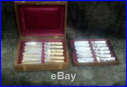 24 Vintage Silver Plate knife & fork sets Bakelite & Mother Pearl in Walnut Wood