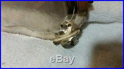 3 Platters Fit In Each Other Vintage Silver Plate Footed Serving Tray Waiters