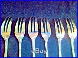 6Vintage Christofle RUBANS CROISES Silver-Plate Dessert Forks 6.25 FRANCE EUC