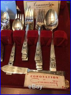 72 Piece Set CORONATION Silverplate Flatware Oneida Community vintage silverware