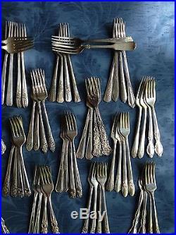 76 Vintage Silverplate Forks! Ornate, Floral, Art! Lot Craft Flatware, Free Ship