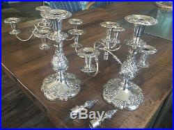 A Pair Of Silverplate 5 Light Candelabras, Vintage Sheffield Candle Holders