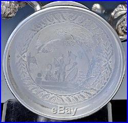 AMAZING c1890 VICTORIAN QUADRUPLE SILVER PLATE FIGURAL CHERUBS CENTERPIECE BOWL