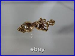 Amazing Antique Gold-plated Silver Pendant W Memento Mori Skull & Crown-19th C