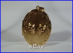 Amazing Antique Mourning Gold-plated Silver Locket Pendant-memento Mori Skulls