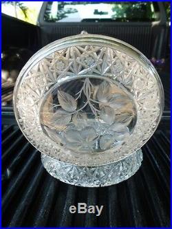 Antique Big Queen Lace Cut Crystal Box W Cut Crystal Leaf Top & Silverplate Ring