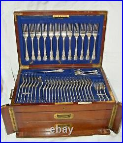 Antique Elkington Silver Plated Campaign Canteen Of Cutlery 1907, 18 Settings
