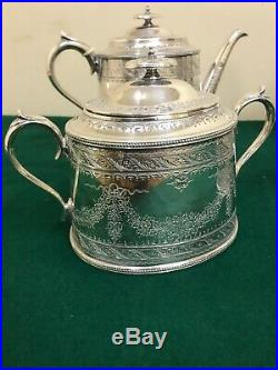 Antique Silver Shaw & Fisher Tea Coffee Pot Cream Silverware Vintage Set Sugar