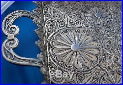 Antique Silver Tray Vintage Tea Coffee Presentation Platter Filigree Handmade