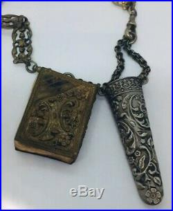 Antique Victorian Karanti Silver Plated Gargoyle Cherubs Griffins Chatelaine