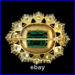 Antique Victorian Paste Brooch Silver Gold Plate Circa 1900
