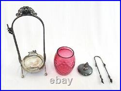 Antique Vintage Cranberry Glass Pickler Jar by Acme Silver Plate Co. Of Boston
