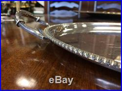 Antique Vintage Harrods Silver Plated Roberts And Belks Oval Serving Tray
