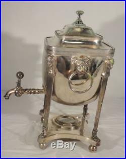Antique Vintage Sheffield Silverplate Egyptian Revival Hot Water Urn Kettle Pot