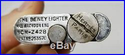 Antique Vintage Silver Plate Hermes Paris Beney Lighter London Tobacciana
