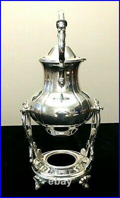 Antique Vintage Silver-Plate on Copper Tipping Coffee Pot and Base