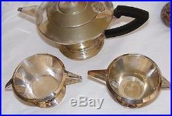 Antique Vintage Silver Plated Art Deco Teaset Kavin Epns Teapot, Jug, Sugar Bowl