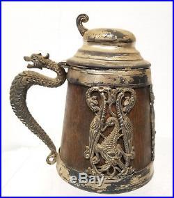 Antique Vintage Silver Plated Dragon Sea Serpent Stein Mug Tankard