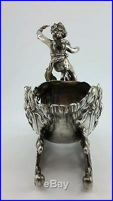 Antique WMF Silverplate Cherub Art Nouveau Figural Sleigh Vase Bowl Vintage
