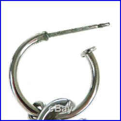 Authentic CHANEL CC Logo Swing Pierce Silver Plated Accessory Vintage 02EZ450