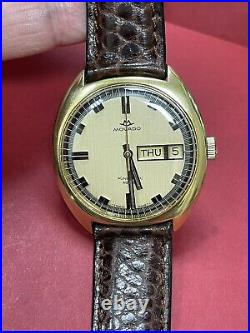 Authentic Vintage MOVADO Kingmatic HS360 Automatic Gold Plated Gold DIAL R2