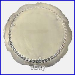 Baroque By Wallace Silver 15 Circle Patterned Footed Serving Tray Vintage #249