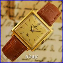 Beautiful Original Ulysse Nardin Gents Square Gold Plated Manual Wind Vintage
