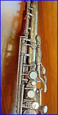 Beautiful Vintage 1914 Frank Holton Bb Soprano Saxophone Orig. Silver Plating