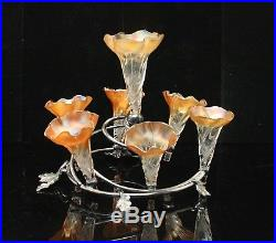 Beautiful Vintage Epergne with 7 Floriform Art Glass Vases & Silver-plate Fixture