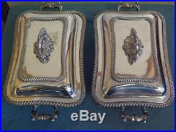 Beautiful Vintage Silver Plate Matched Pair Entree Dishes C1880 With Warmers