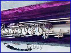 Beautiful vintage Frank Holton Soprano Saxophone Original silver Plating intact