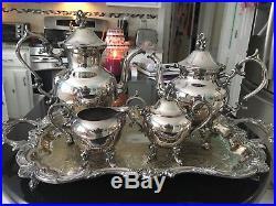 Birmingham Silver Company Vintage 5 Piece Silver on Copper Tea Coffee Set