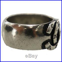 CHANEL CC Cambon Logos Silver Finger Ring Silver-Plated Vintage Authentic #BB177