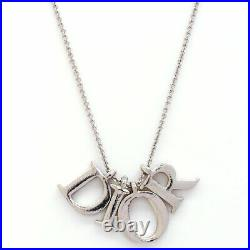 Christian Dior Authentic Necklace Logo Letter Silver Plated Pendant Vintage