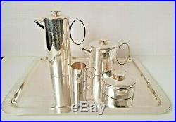 Christofle Silver Plated Vintage 1970s Mercury Tea Set Tray 5pcs Lino Sabattini