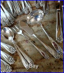 Daffodil 1847 Rogers Bros. Silver Flatware Silverware Vintage 63 pieces
