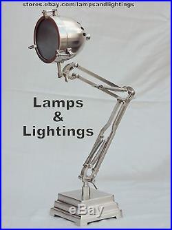 Designer Vintage Replica French JIELDE SILVER Table Desk Lamp Light Industrial