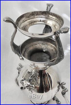 EXQUISITE! Vtg Slv Plate Footed Hot Water Coffee Tea Samovar Urn withBurner Pot