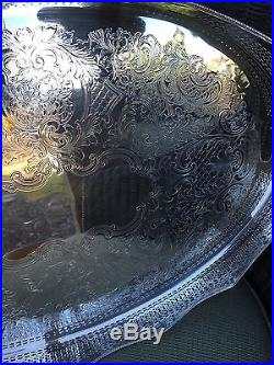 English Antique Vintage Barker Ellis Silver Reticulated Gallery Tray