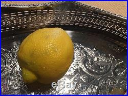 English Antique Vintage Barker Ellis Silver Reticulated Gallery Tray Large