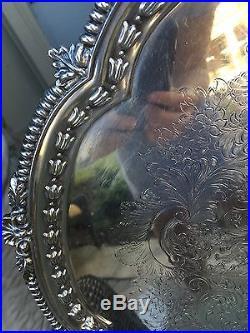 English Antique Vintage Silver Round Barker Ellis Tray